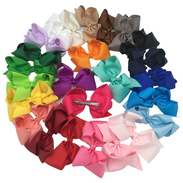 XIMA 32pcs/lot 6inch Big Hair  Ribbon Bows Kids Hair Accessories  for Hair  with Clip Hair Bows