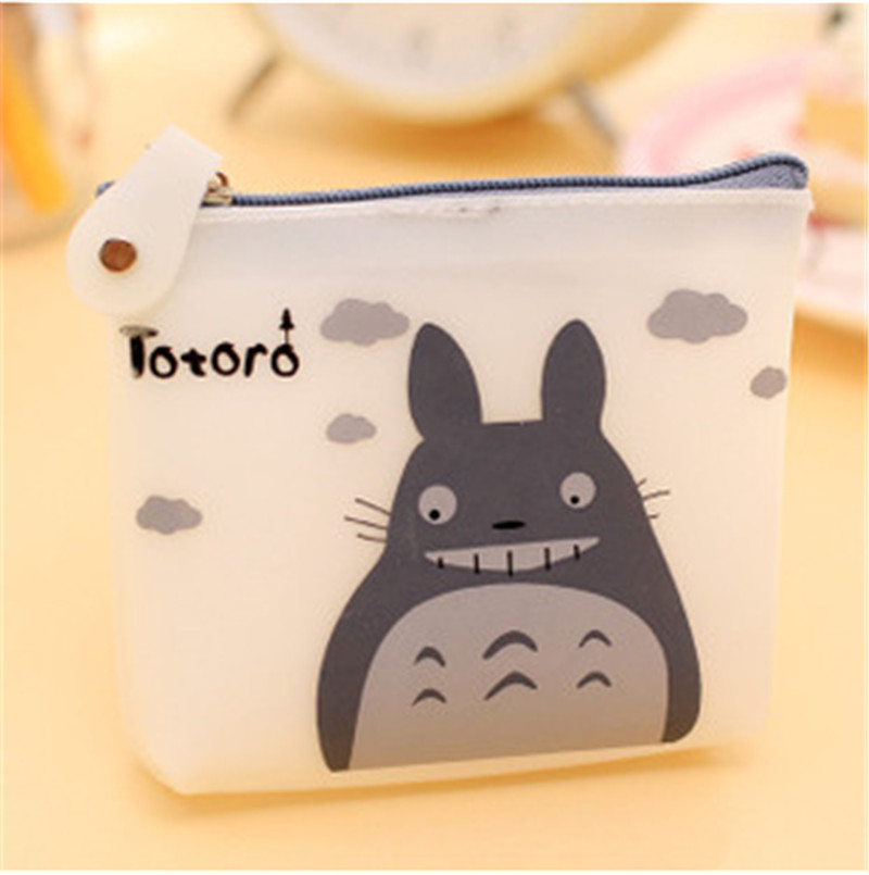1 Pcs Men & Women Cute Cartoon Coin Purse Wallet My Neighbor Totoro Silicone Jelly Keychain Bag Transparent Card Holder 2016 new design women cute wallet my neighbor totoro cute fashion cartoon woman bifolded wallet girl students long purse