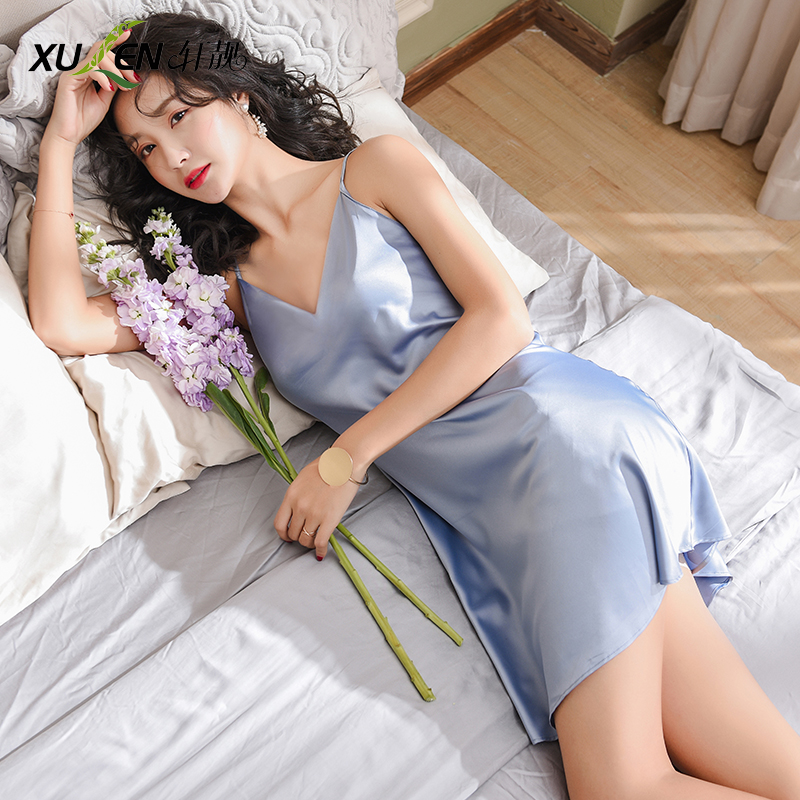 Women sexy dress bride bridesmaid   nightgown   and   sleepshirt   plus size sleepwear summer ice silk home v-neck night skirt