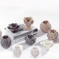 Europeo A Mano In Ceramica Craft Paesaggio Fiori Forma Tealight Candle Holder Tea Light Casa Desktop Ornamento di Nozze Regali