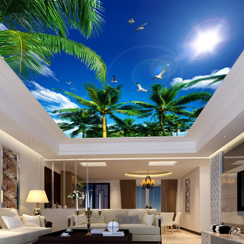 Custom 3d Photo Wallpaper Blue Sky And White Clouds Coconut Trees