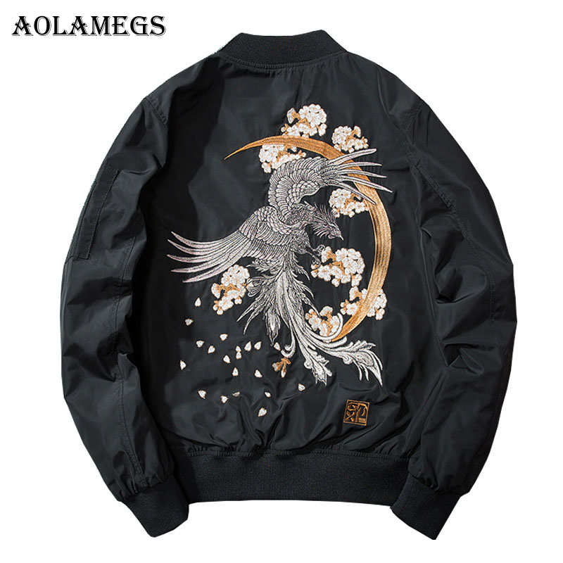 Aolamegs Bomber Jacket Phoenix Embroidery Thick Men
