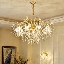 מודרני מינימליסטי נברשת סלון Diningroom אור Creative אמנות נברשת אירופאי חדר שינה זהב קריסטל נברשת אור