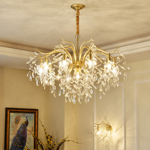 Image 1 - Modern Minimalist Chandelier Living Room Diningroom Light Creative Art Chandelier European Bedroom Gold Crystal Chandelier Light