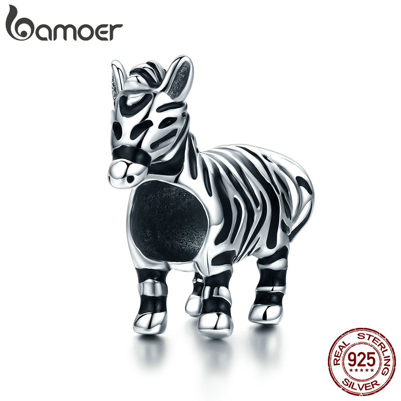BAMOER Fashion New 925 Sterling Silver Lovely Zebra Horse Charm Beads fit Original Charm Bracelet & Bangles DIY Jewelry SCC550 bamoer romantic new 925 sterling silver i love you forever engrave spacer beads fit charm bracelet & bangles diy jewelry scc595
