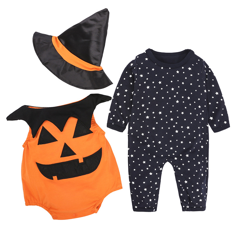 100% Cotton Halloween Newborn Baby Boy Clothes Baby Girl Bodysuit+Jumpsuit Pants+Wizard Hat Toddler 3Pcs Clothing Set 3pcs baby boy girl kids newborn infant bodysuit pant hat outfits striped baby clothing set geometry baby boys clothes 0 18m