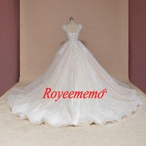 Image 4 - Vestido דה Noiva שווי שרוול כדור שמלת וינטג Robe De Mariage מיוחד תחרה עיצוב מבריק לוקסוס חתונה שמלת מפעל
