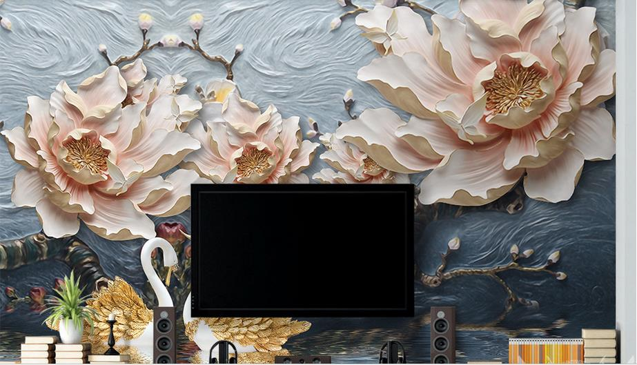 Custom photo wallpaper 3d living room TV sofa rich stereoscopic relief Flowers large mural 3d wall murals wallpaper new 2017 custom photo wallpaper venice city building large mural wallpaper for the living room tv sofa bedroom wall pvc wallpaper