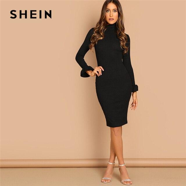 d3c107d3c05 SHEIN Black Flounce Sleeve Pencil Knee Length High Neck Bodycon Plain Dress  Casual Elegant Women Autumn Modern Lady Dresses