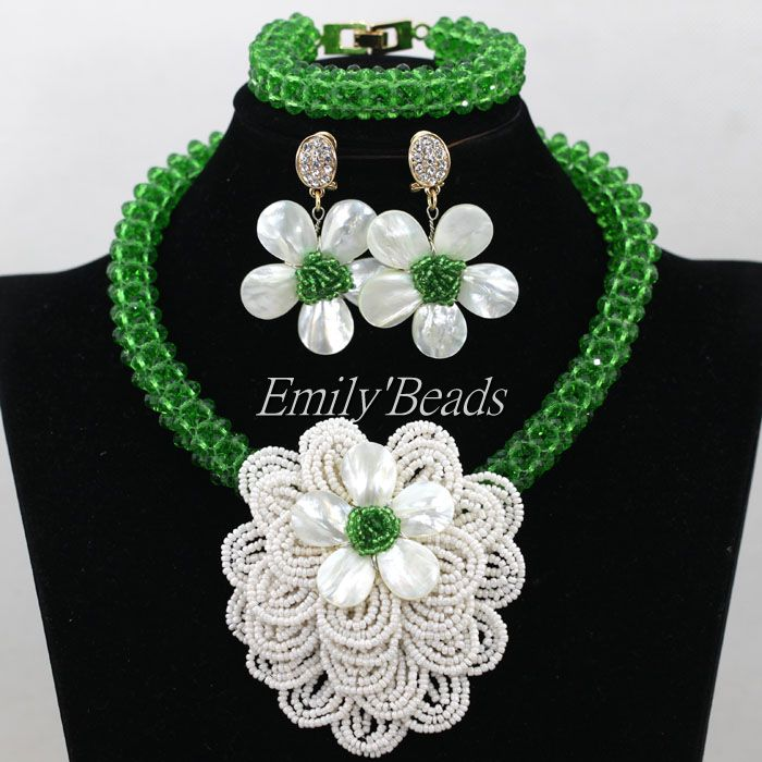 Nigerian Green Crystal Beads Jewelry Set Fashion Shell Flower White African Wedding Beads Jewelry Set Free Shipping AIJ662
