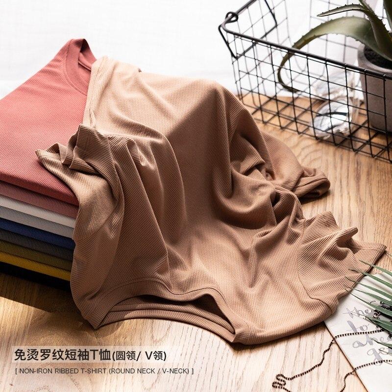 High-end Quality Women Ribbing T-shirt O  Neck Morandi Colors Easy Care Tee Short Sleeve 2019 Spring Summer Vacation Wear V-c