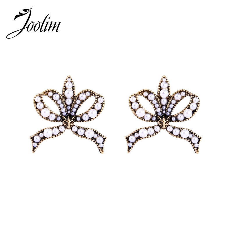 JOOLIM Cool Antique Gold Simulated Pearl Knot Earring Women Earring 2018 Free shipping Jewelry Wholesale