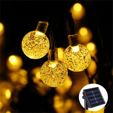New 50 LEDS 10M Crystal ball Solar Lamp Power LED String Fairy Lights Garlands Christmas Decor For Outdoor Warm White