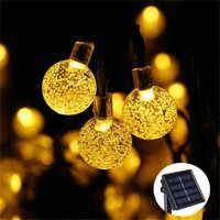 New 50 LEDS 10M Crystal ball Solar Lamp Power LED String Fairy Lights Solar Garlands Christmas Decor For Outdoor Warm White