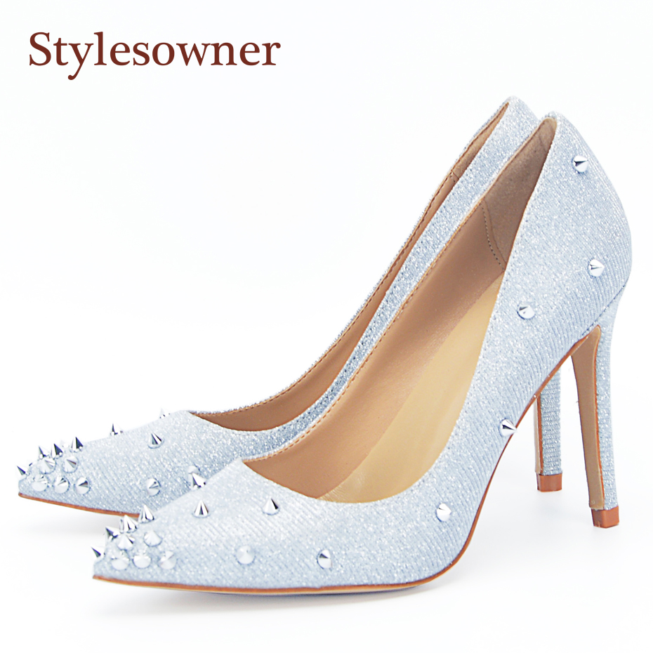 stylesowner Rivets Women Shoe Slip On Pointed Toe Chic Lady Sexy Pumps Stiletto Luxury Bling Silver Wedding Party Shoe luxury bling bling crystal pointed toe pumps silver blade heels women party dress shoes sexy slip on wedding bride shoes 2018