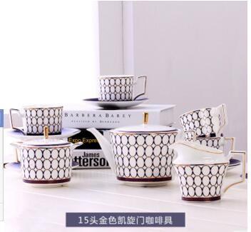 2018 новый стиль Европейский королевский синий ретро 15 голова костяного фарфора кофейный набор английский послеобеденный чай Бытовая керамика