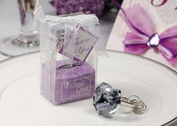 30pcslot With This Ring Purple Heart Diamond Keychain Best Gifts