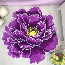 3D красный пион ковер толстый Цветочный Ковер Спальня Гостиная круглый коврик кровать мягкий салон Противоскользящий дверной коврик для прихожей розовый ковер