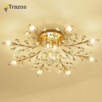 TRAZOS New item fancy ceiling light LED Crystal ceiling lamp modern lamps for living room lights,AC110 240V DIY Crystal lighting