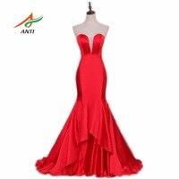 ANTI Sexy Red Mermaid Evening Dress V-Neck Empire Sweet 16 Years Robe De Soiree Vestido De Festa Formal Party Evening Gowns 2017