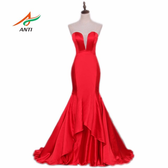 ANTI Sexy Red Mermaid Evening Dress V-Neck Empire Sweet 16 Years Robe De Soiree Vestido De Festa Formal Party Evening Gowns 2017
