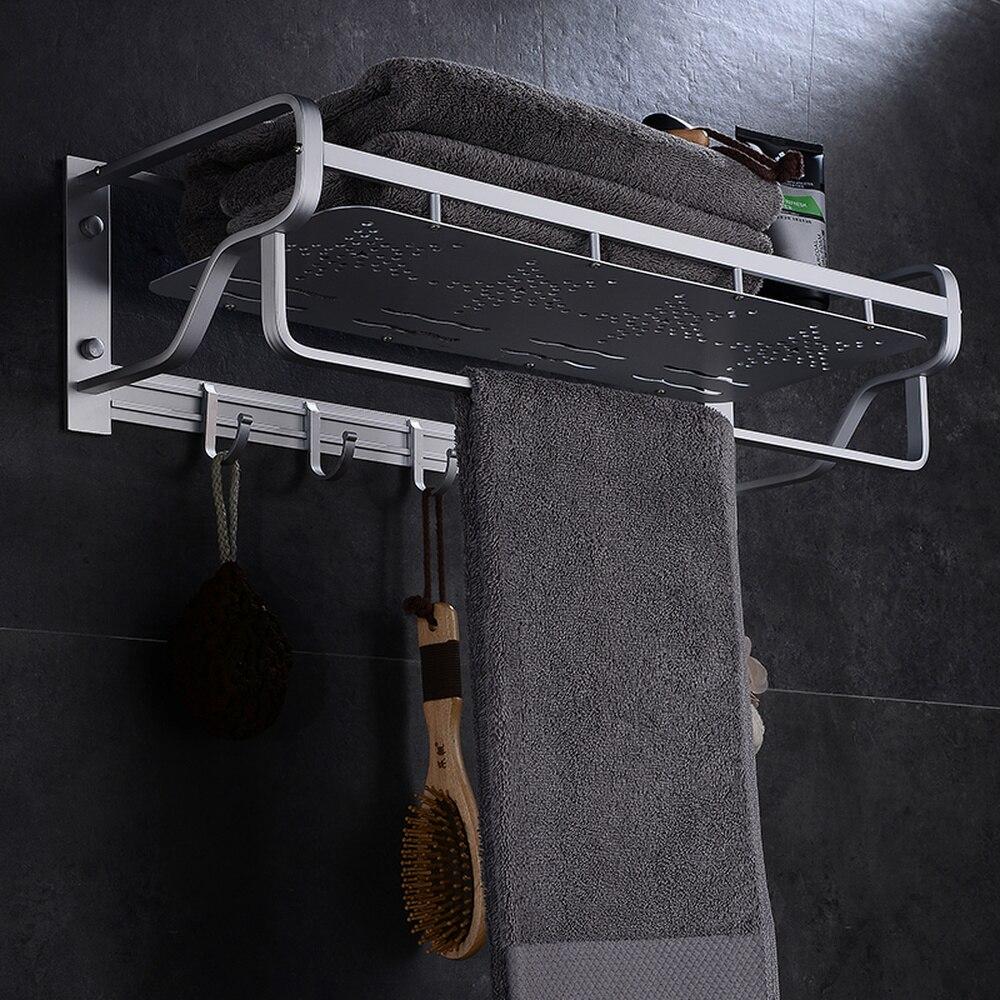 Espace aluminium salle de bain étagère mural porte-serviettes porte-serviettes gratuit poinçonnage panier double pôle 2 couche pendentif LO4181141