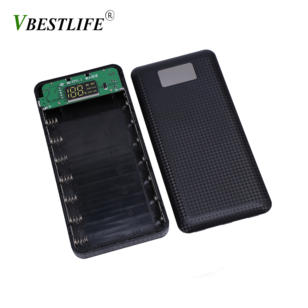 VBESTLIFE (No Battery) DIY 18650 Power Bank Battery Box 18650 Battery Holder Box Protector Case Cover Portable External Box