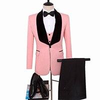 Портной Костюмы Блейзер с принтом смокинг для жениха розовая куртка для костюм друга жениха свадебный костюм Индивидуальный заказ Мужская
