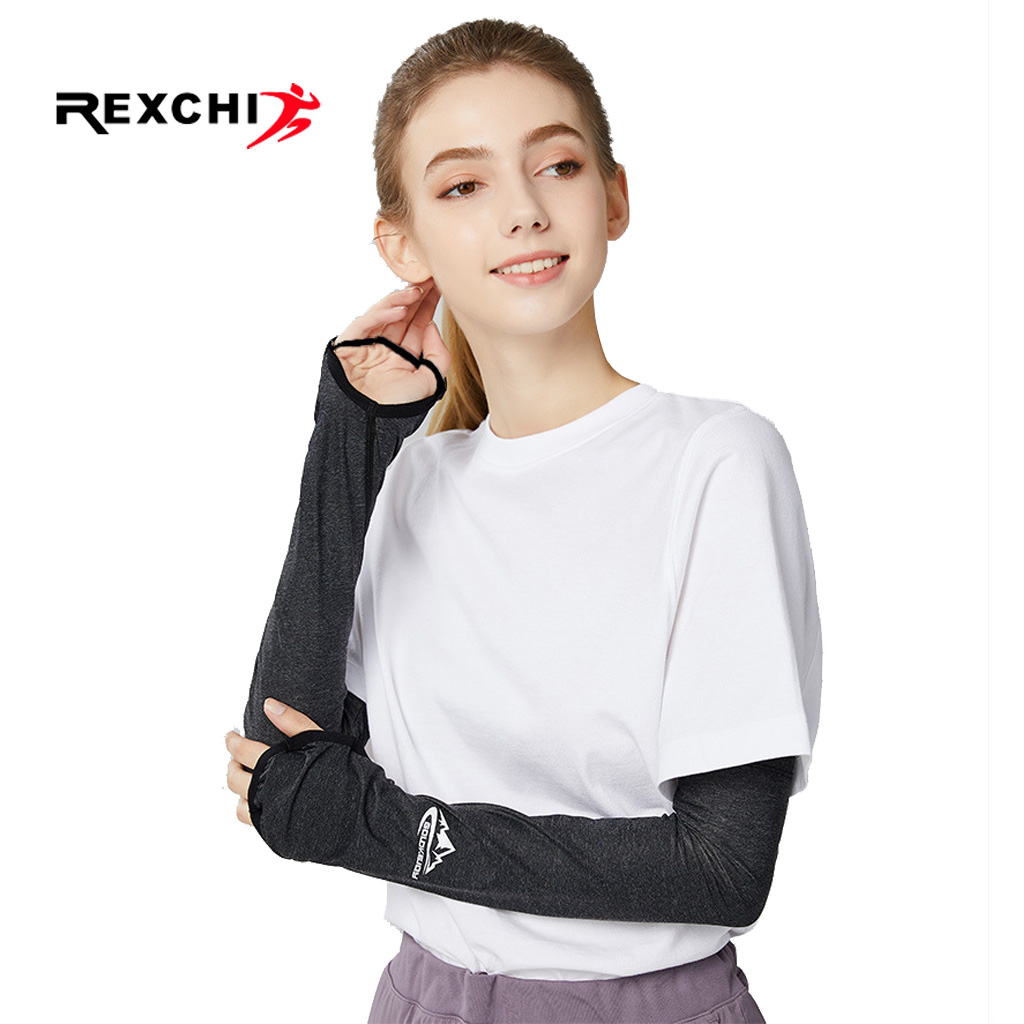 REXCHI Ice Fabric Women Sleeves For Cycling Arm Warmers UV Sun Protection Cover Running Driving Basketball Sports Sleeve