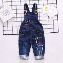 DIIMUU New Fashion Boys Jeans Overalls Toddler Baby Clothing Denim Pants Casual Children Clothes Cute Infant Trousers Long Pants недорого