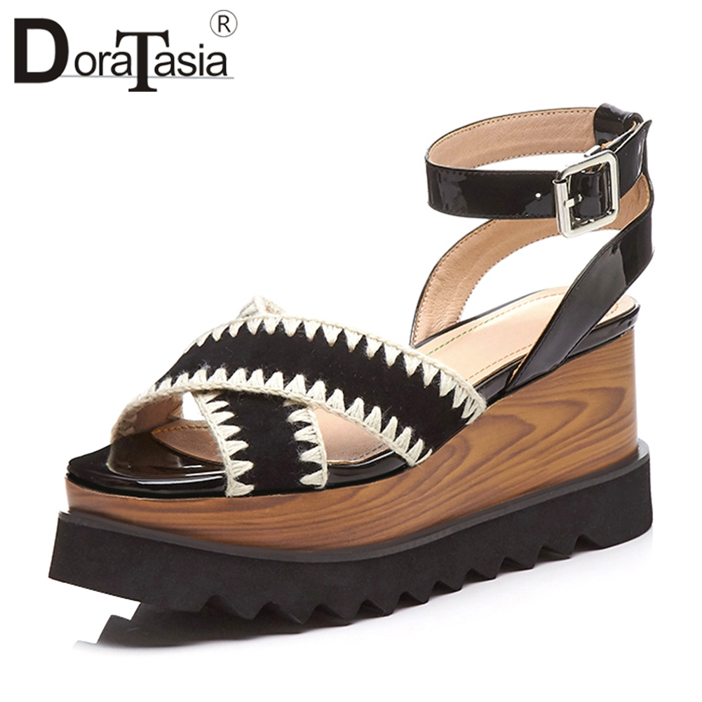 DORATASIA 2019 Summer Brand Fashion Natural Kid Suede Sandals Women Sewing Wood Platform High Wedges Casual