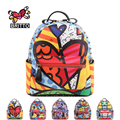 BRITTO 2017 Hot Sales New Female Cartoon Graffiti Backpacks School Bags Travel Rivets Male Fashion Backpack  Free Shipping
