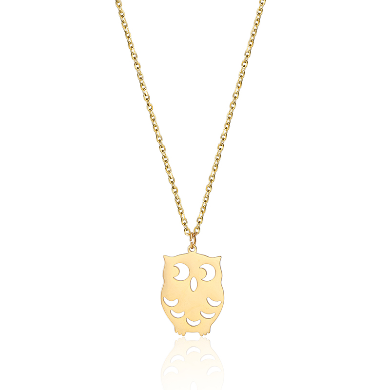 Stainless Steel Laser Out Animal Owl Pendant Necklaces Best Minimalist Jewelry For Women