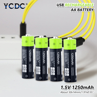 4 Pcs Rechargeable 1250mAh Micro USB AA Batteries 1.5 V Remote Controls Mini Fan Lithiun Polymer Battery + USB Cable Charger
