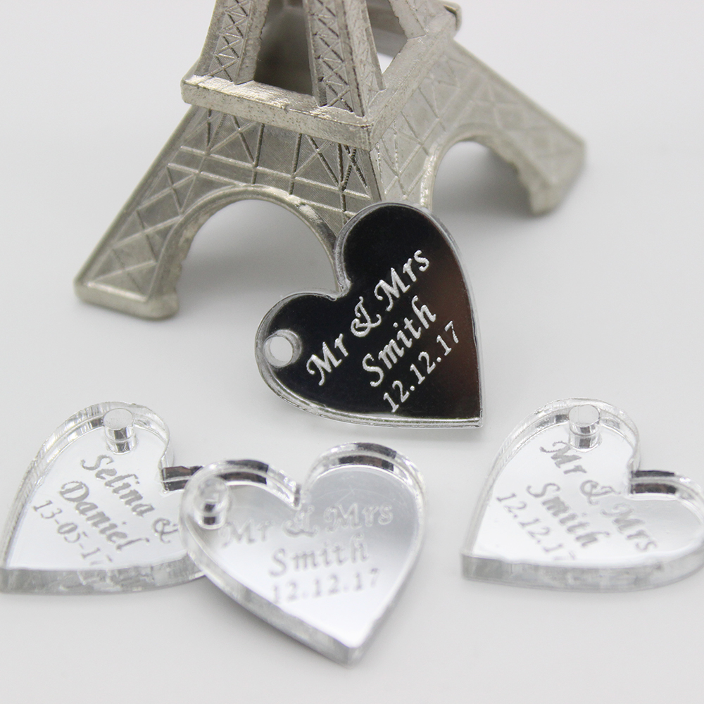 100pcs Personalised Mirror Love Hearts Engraved Tag Tags Hole ...