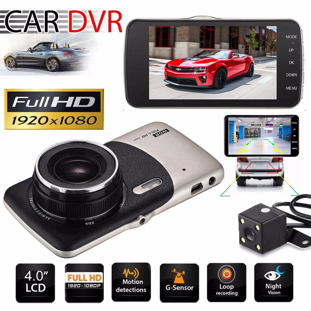 new 4 mini car dvr dual lens video recorder parking car camera night vision auto black dvr. Black Bedroom Furniture Sets. Home Design Ideas