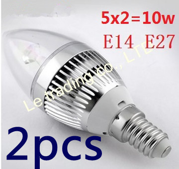 2pcs/lot E14 E27 5X2W 10W 85V-265V Candle LED Lamp LED Light Candle Bulbs With Good Quality Free shipping