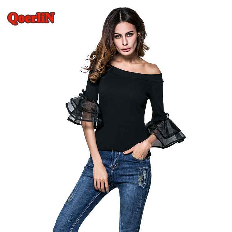 QoerliN Sexy Slash Neck Flare Sleeve Autumn Half Sleeve