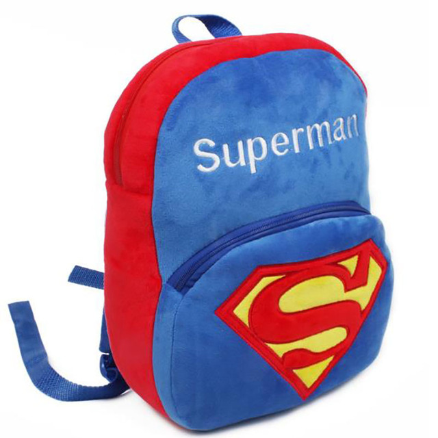 26*32cm Superman Cotton Lovely Peluche Backpacks Big Size Plush Schoolbag For Students Boys Girls Free Shipping