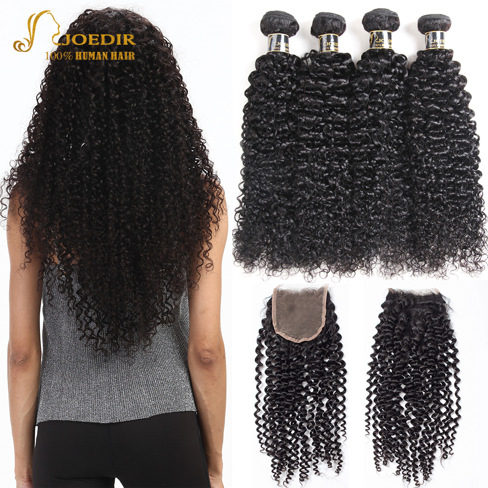 Joedir Hair 2 3 4 Bundles With Closure Brazilian Kinky Curly Human Hair Weave Non Remy Hair Extensions Bundles With Closure