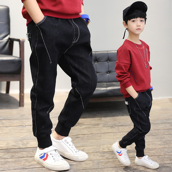 Boys pants 2018 new spring kids clothing big boys jeans doll cotton trousers baby children roupas infantis menina foot leggings Boys Jeans