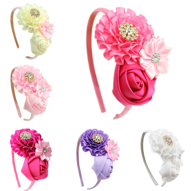 1 pieces new Baby Girl Ruffles pink Flower Hair flower band kids Headband Girl's Hair Accessories children accessories glasgow k girl in pieces