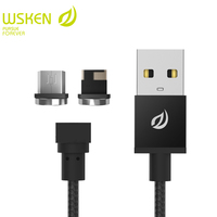 WSKEN 2 in 1 Round Magnetic Micro USB Cable For Samsung S7 Magnetic Charger Mobile Phone Cables For iphone USB cable