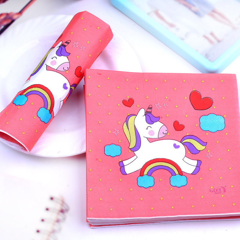 20pcs 33 33cm Red Unicorn theme Paper Napkin Paper Tissue for kids birthday party decoration in Disposable Party Tableware from Home Garden