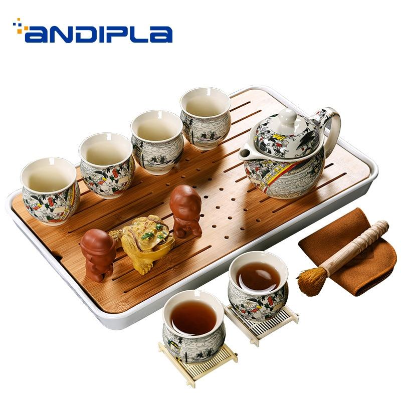 Ensemble de thé Kung Fu chinois en céramique Vintage créatif 6 tasses à thé 2 plateau à thé 1 brosse à thé 1 tissu 3 décoration 1 plateau à thé 1 Kit théière