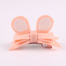 20pcs/5C Fashion Cute Glitter Bear Ears Hairpins Solid Kawaii Felt Bowknot Animal Ears Girls Hair Clips Headware Accessories