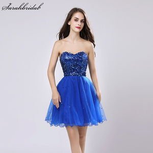 Image 1 - Sweety Royal Blue Sequins Short Prom Dresses Sweetheart Organza A Line Party Gown Lace Up Rode De Soiree In Stock Cheap SLD032