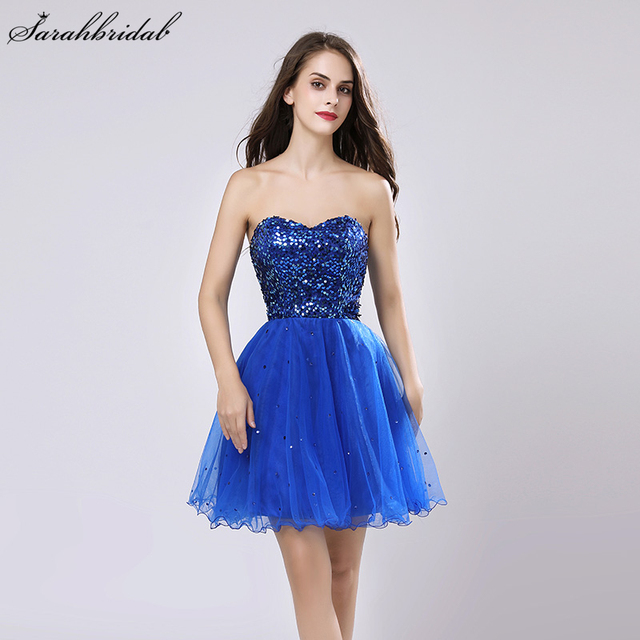 Sweety Royal Blue Sequins Short Prom Dresses Sweetheart Organza A Line Party Gown Lace Up Rode De Soiree In Stock Cheap SLD032