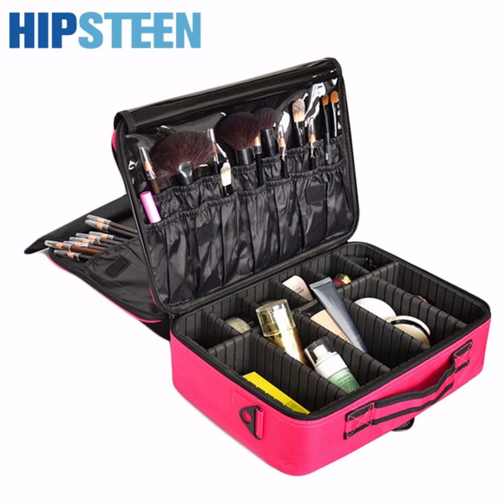 HIPSTEEN Portable Makeup Box Bag Organizer Cosmetic Cases Case For Women Cosmetics Box Lagre Makeup Make Up Bag Black