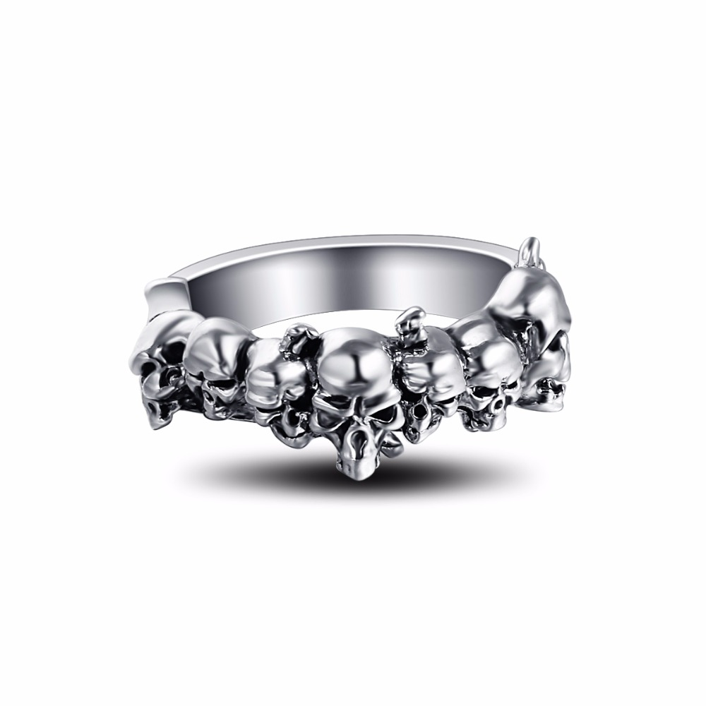 Graduation Pinky Cool Boho Silver Gothic Punk Skull Big Adjustable Rotating Bikers Motorcycle Skull Band Rings